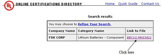 UL Marking | Lithium Batteries│Industrial│FDK CORPORATION